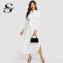 ropa de trabajo vestidos mujeres Rebajas venta al por mayor blanco minimalista V cuello una línea con cinturón vestido de camisa de palangre mujeres 2019 primavera elegante de cintura alta ropa de trabajo vestidos maxi