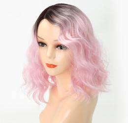 2019 farbverlauf farbe perücke Synthetische lockige Perücke lose Welle rosa Farbverlauf Perücke Mechanismus chemische Faser Perücke für europäische und amerikanische Frau versandkostenfrei günstig farbverlauf farbe perücke
