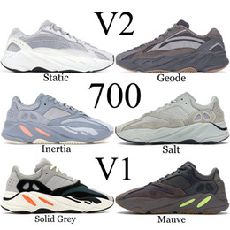 polo shoes Coupons - 700 Wave Runner 2019 Mauve Solid Grey Men Running Shoes Best Quality Kanye West Designer Shoes Sport Sneakers 36-46 With Box