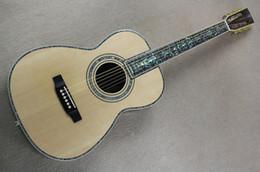 Sillín de guitarra online-Guitarra acústica original de tapa maciza de 41 pulgadas con tuerca / sillín, incrustación de perlas coloridas, diapasón de palisandro, herrajes dorados, se puede personalizar