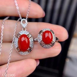 2019 rote korallenketten KJJEAXCMY Fine Jewelry 925 Sterling Silber eingelegte natürliche rote Koralle Edelstein weibliche Halskette Kette Anhänger Ring Unterstützung Bewertung n günstig rote korallenketten