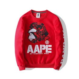 Wholesale Nueva marca Aape Designer Hoodies para hombre mangas largas Moda hombre Casual Hoodies Rojo Negro AAPE Mens Designer sudadera Tamaño S XL