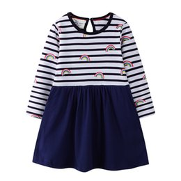 Vêtements pour l'école en Ligne-Robe Princesse Sac Imprimer Mode Filles Robe À Manches Longues Designer Vêtements Enfant pour Filles Robe De Fête 2-7 Ans
