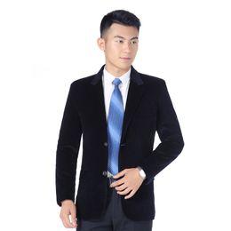 Traje de pana slim fit para hombre online-Chaquetas de pana para hombre, hombres, traje de negocios, chaqueta informal, hombres, botonadura sin tirantes, corte slim, negro azul caqui rojo