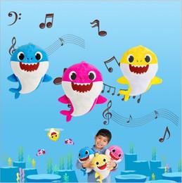 máquina de imitación Rebajas Bebé tiburón juguetes de peluche con música de tiburón muñecos de animales de dibujos animados de peluche de juguete de peluche animales muñeca niño regalo de la novedad favor del partido 30 cm B4624