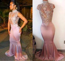 Vestidos de noche rosa estirada online-2019 New Pink Illusion Blusa Vestidos de fiesta de sirena Cristales de cuello alto Con cuentas Vestidos de noche largos del estiramiento Vestuario árabe Vestidos famosos