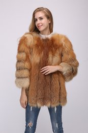 modelos femeninos delgados negros Rebajas mujeres de la señora verdadera genuina zorro rojo abrigo de piel de invierno caliente elegante clásica