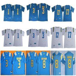 2020 equipes de futebol da faculdade NCAA UCLA Bruins Camisolas De Futebol Universitários Homens 1 Soso Jamabo 3 Josh Rosen 8 Troy Aikman 17 Cristão Pabico Costura Equipa Azul Branco desconto equipes de futebol da faculdade