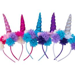 Bastoni di cotone online-Bastoncini per capelli Unicorno per bambini Bastoncini per capelli in cotone con corno Glitter Hairband Party Simulation Flower Hair Sticks 61
