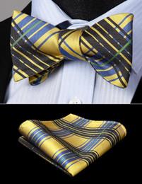 Gravata de xadrez a lã amarela on-line-Homens clássico Bow Tie Handkerchief Set presente de casamento Woven Preto Amarelo Verifique manta partido Laço Auto bolso Conjunto Praça BC928YS