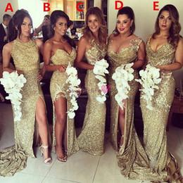 vestidos de primavera para convidados Desconto 2020 Sparkly Champagne Ouro Sequins Mermaid dama de honra Partido Vestidos Backless alta Slit Plus Size Maid of the Honor Wedding Dress Evening