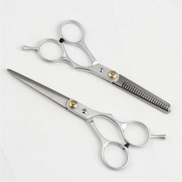 Tipos de cabelo on-line-Barber Hair Cutting Emagrecimento Tesoura Ferramenta de Estilo de Cabeleireiro de Aço Inoxidável Tesoura Do Cabelo dois tipos de acessórios de Barbeiro QQA382