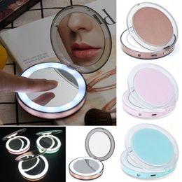 2019 strumenti di vetro Specchietti portatili a LED Ricaricabile specchio per il trucco Touch Screen Specchio a LED 2 faccia 1X 3X Lenti d'ingrandimento Strumenti per trucco cosmetico strumenti di vetro economici