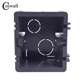 Коробка установки внутренняя кассета 82mm * 76mm * 50mm для 86 типа переключателя и гнезда Coswall высокопрочная черная коробка проводки задняя от Поставщики европейские предохранители