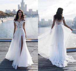 2019 vestidos de novia únicos de invierno 2020 Nueva Mangas de encaje mejores vestidos de boda escarpado del cuello Una línea de gasa verano de la playa de Split lateral vestidos de boda