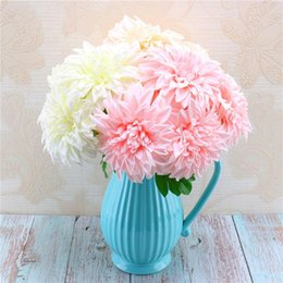 Ramalhetes de noiva do natal on-line-5 Chefe 43x12cm Dahlia Artificial Silk Flores Gerbera Falso casamento do Natal Bridal Bouquet Flor partido Home decorativa