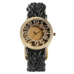 Criativo do vintage Handmade Malha Banda de Couro Marrom Preto Mulheres de Pulso de Quartzo Relógios Analog Oco Esqueleto Pulseira Senhoras Relógio Presentes de Fornecedores de relógio de pulso de esqueleto de couro marrom