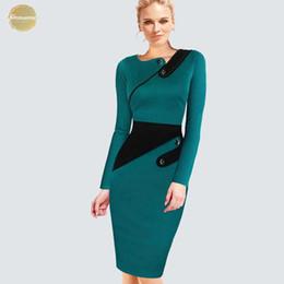 Vestidos de mujer de negocios equipados online-El tamaño más desgaste elegante a la ropa de trabajo de las mujeres de negocios Oficina vaina Casual Túnica Vestido a medida formal Vestido lápiz B63 B231