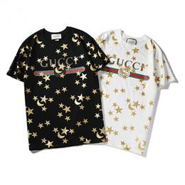 Sterne hemden hip hop kleidung online-Mens Hip Hop Lustige Designer T-Shirt Gold Gedruckt Sommermode Kleidung Glod Star Print Kurzarm Oansatz Casual Pullover Sport Tops T