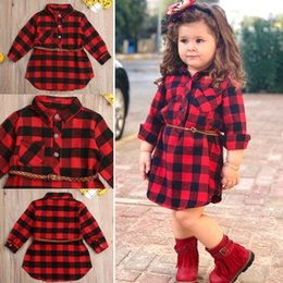 Vestido de cinturón rojo niña online-Christmas Dress Baby Girl Clothes Red Plaid Princess Dress Costume + Belt 2pcs Newborn Toddler Kids Winter Spring Outfits 0-5T