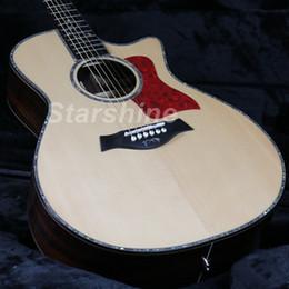 Incrustación de guitarra eléctrica acústica online-JEAN6052 Guitarra acústica eléctrica HZ-916 de alta calidad Solid Top Ablone Inlay Ebony Fingerboard Bone NutBridgeSaddle