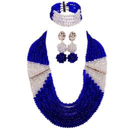 Royal Blue and Transparent Clear AB African Beads Jewelry Set Nigerian Necklace Wedding Party Jewelry Gifts LBSJ10 cheap nigerian blue necklace от Поставщики нигерийское синее ожерелье