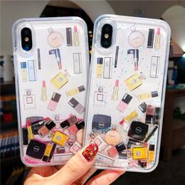 Kozmetik Quicksand Kapak Kılıf Iphone 6 s 7 8 Artı Xs Max Xr Sert Ruj Parfüm Şişesi Dinamik Sıvı Çapa Telefon Kılıfı Ipone nereden sıvı şişe telefon kutusu tedarikçiler