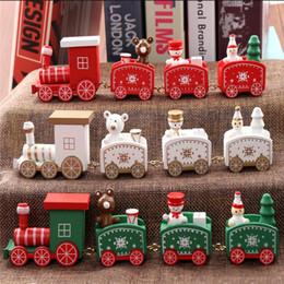 juguetes educativos de tela Rebajas Nuevo tren de navidad pintado de madera decoración de navidad para el hogar con santa / oso navidad niño juguetes regalo adorno navidad año nuevo regalo