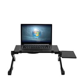 Suportes para livros dobráveis on-line-Mesa Dobrável Multifuncional 360 ° Ajustável Ventilada Laptop Mesa Portátil Cama Bandeja Livro Stand Tablet Dobrável Laptop Notebook PC Desk Preto