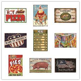 Canada Pizza Crème Glacée Lunkers Drapeau Américain Menu Cochon Tartes Porkers Décor À La Maison Vintage Plaques En Métal Signes En Métal Hôtel Musique Bar Café Restaurant Mur Salle De Bains Offre