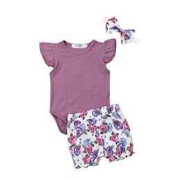 peacock flying Coupons - Sweet Baby Girls Fly Sleeve Romper+Flower Short Pants Headband Summer Outfit Set