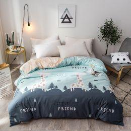 Grüne bettdecken online-Cartoon Green Forest Fawn Printed Bettbezug 100% Baumwolle Bettbezug für Kinder Junge Mädchen Twin Voll Königin König Tröster deckt