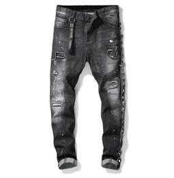 Jean design patché en Ligne-Unique Mens Ribbon Paneled Skinny Black Jeans Créateur de mode Slim Fit Lavé Moto Denim Pants Patchs Hip HOP Pantalon 1011