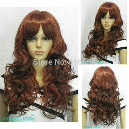 Parrucca borgogna miscela online-Nuova parrucca da donna lunga ondulata nera bordeaux mix rosso scuro