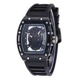 Relógio de pulso crânio on-line-Moda casual esqueleto relógios de quartzo moda homens relógios de quartzo crânio esporte relógio de quartzo silicone relógios de pulso crânio esportes relógios homens