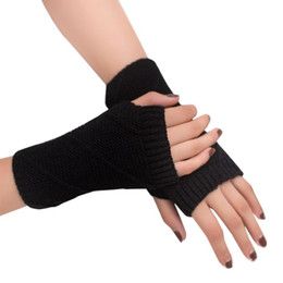 Dame Stretchy Striped Weiche Handgelenk Arm Warmer Lange Hülse Halb-finger Handschuhe Neue Damen-accessoires