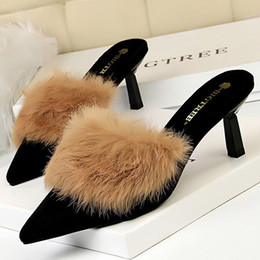 goldkätzchen Rabatt Hot Sale-Schuhe Hot Kitten Heels Wildleder High Heels Sexy Frauen-Pumpen Komfort Damenschuhe Fur Slippers Spitz Damen