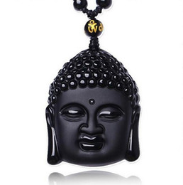2019 fragole di prezzo all'ingrosso Natural Black Obsidian Intagliato Buddha Head Lucky Amulet Ciondolo Collana Donna Uomo ciondoli Gioielli regalo di guarigione