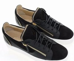 Canada Chaude Italie célèbre marque Zipper Hommes et Femmes Low Top Chaussures Plates En Cuir Véritable Hommes Chaussures Designer Baskets Couple chaussures 35-47 cheap italy brand shoes Offre
