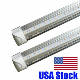shop lighting design Promo Codes - 2ft 3ft 4ft 5ft 6ft V-Shape 8ft led tube lights T8 Integrated cooler door design shop LED lights fixture T8 LED Tube With Accessories