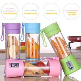 Tazze di miscelatore online-Bottiglia 380ml portatile Blender Juicer Coppa USB ricaricabile elettrico automatico Smoothie di verdure della frutta agrumi succo d'arancia Maker Cup Mixer