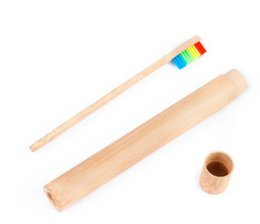 japan beds Promo Codes - 1* Natural Bamboo Toothbrush Tube Case Handmade Vintage Portable Toothbrush Storage Case