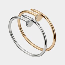 braccialetto d'ottone africano Sconti Braccialetti di amore di trasporto di goccia d'argento dei braccialetti dell'oro delle donne degli uomini Braccialetti dei monili delle coppie del chiodo senza scatola