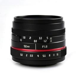 C montagem lentes on-line-50mm F1.8-F16 APS-C Lente Da Câmera Manual Prime para SONY E Monte A6500 A6300 A6100 A6000 NEX-7 NEX-6 Olympus M4 / 3 Montagem FX