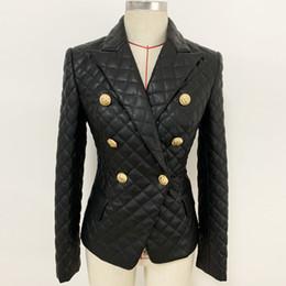 chaqueta de cuero mujer s morado Rebajas 1107 2019 Escudo otoño envío de la solapa del cuello de la PU ropa de mujer más el vestido de manga larga botón OULAIDI