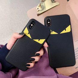 2019 couverture huawei honneur 4x yeux cuir de luxe diable cas de couverture Designer téléphone pour iphone 11 X Pro XS Max Xr 7 8 6 6s Mode Plus Marque Couverture souple Funda