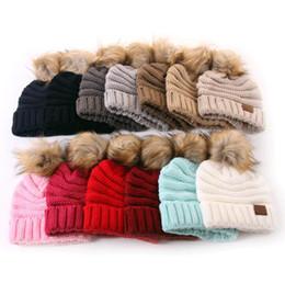 2019 gorro de lana tejido a mano Niños PomPom Gorros Bebé de punto de invierno cálido sombreros Grueso elástico de punto Beanie Cap Bobble Beanie sombreros 13 colores