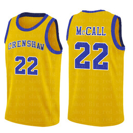school shirt men Promo Codes - NCrenshaw High School 22 Quincy McCALL Movie College Basketball Jerseys Blue White Sport Shirt Top Quality S-XXL