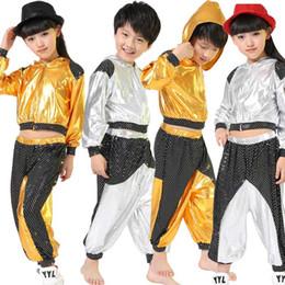 trajes de dança jazz meninos Desconto Meninas Meninos Gold Silver Ballroom Jazz Hip Hop Dance Competition Costume Kid roupas vestuário Hoodie Shirt Top calças do desgaste Dança