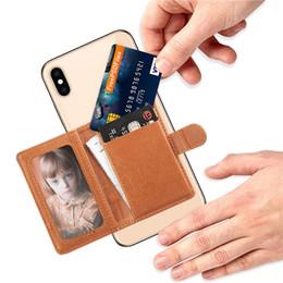 Наклейка для футляра для телефона онлайн-Универсальный 3 м наклейка назад телефон слот для карты кожаный карман палку на бумажник наличными ID кредитной карты держатель для мобильного телефона чехол iPhone XS MAX XR X